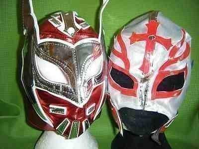 ROT SIN CARA - SILBER REY MYSTERIO RINGER MASKE SATZ WWE KOSTÜM VERKLEIDEN OUTFIT ANZUG-WWF MEXIKANISCH KINDER SPORT OUTDOOR COSPLAY KINDER JUNGEN KINDER MÄDCHEN RESTLING NEU
