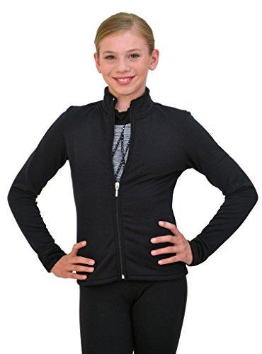 ChloeNoel Polartec J11 Figure Skating Solid Polar Fleece Fitted Jacket, Damen Mädchen, schwarz, Adult Medium -