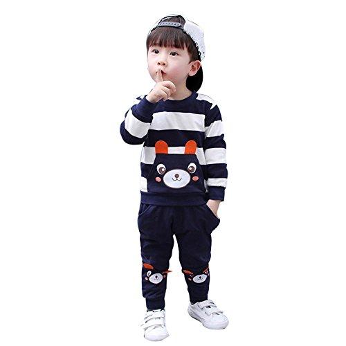 Mbby tuta bambino orso, 2-5 anni completino bambino ragazza e ragazzi 2 pezzi tute in cotone invernale autunno maglietta a righe + pantaloni set caldo manica lunga leggera antivento