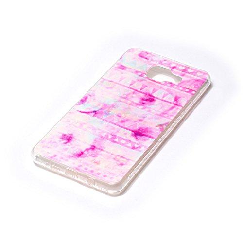 FESELE Silikon Handy Hülle für [Samsung Galaxy A5 2016], Durchsichtig Ultradünn TPU Handytasche für Samsung Galaxy A5 2016 Bunt Malerei Muster Transparente Schutzhülle Weiches Silikon Tasche Hüllen Rü Rosa Tribal Tringel