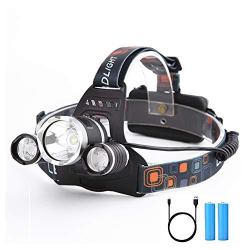Yizhet 6000 Lumen Led Stirnlampe LED USB Kopflampe wasserdicht 4 Modi USB WiederaufladbarStirnlampe Kopflampe 90 Grad Winkel Verstellbare Stirnlampen für Laufen, Radfahren, Wandern, Angeln