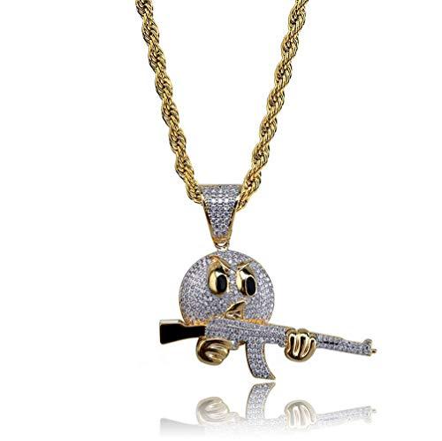 WJMSS Personalisierte Anhänger, Cartoon Expression Grip Gun Halskette mit Zwei Farben Zirkon Hip Hop Modeschmuck Geburtstagsgeschenk für Frauen Mann Paar eingelegt - Winzige Gold-charme-halskette