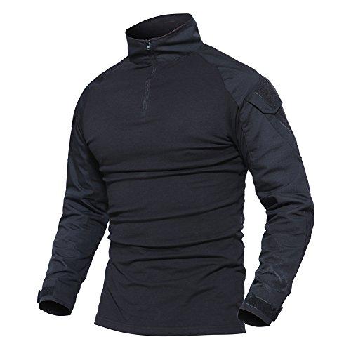 Magcomsen Herren Schlank Passen Taktisch T-Shirt Militär Airsoft Tarnung Kampf Lange Hülse Shirts Mit Reißverschluss Schwarz (Armee Militär T-shirt)