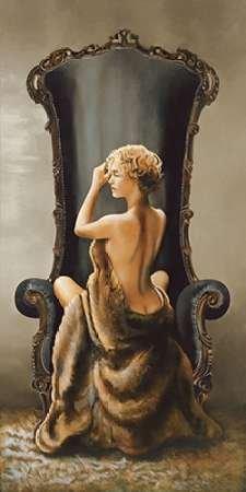 Wand-platten Viktorianischen (Seated Beauty von Di Scenza, Ron Kunstdruck auf PAPIER - Klein (47 x 94 cms ))