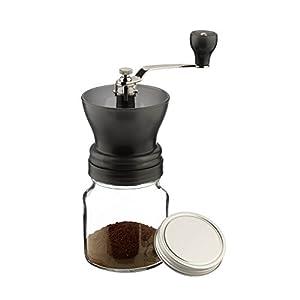Café Stal manuale Coffee Bean Grinder in barattolo di vetro con coperchio, regolabile, grana di motivi, in acciaio INOX, acrilico e vetro, grigio