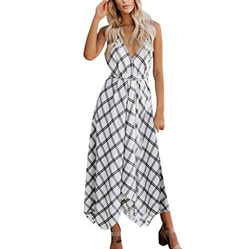 Yvelands Sommerkleider Damen Maxi Kleid Off Shoulder Abendkleid Strandkleid Party Schulter Kleider Schulterfrei Strand Spielanzug Boho (L, Weiß1) Polyester Tweed