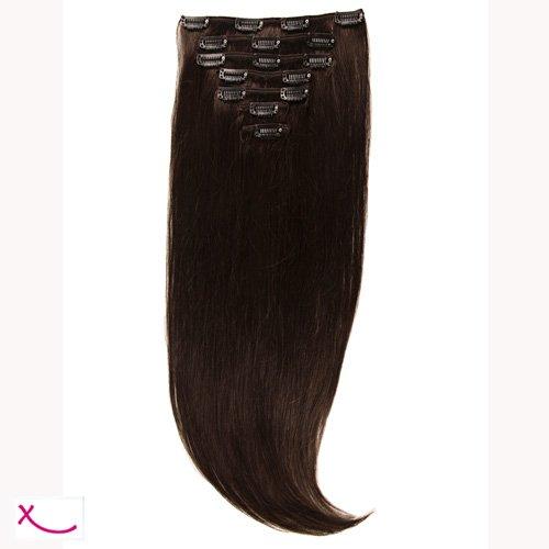 Extiff - Extension cheveux naturel clip lisse - 50cm 100gr - qualité Rémy Hair (1B - Brun Chocolat) - 7 bandes au total 15 clips