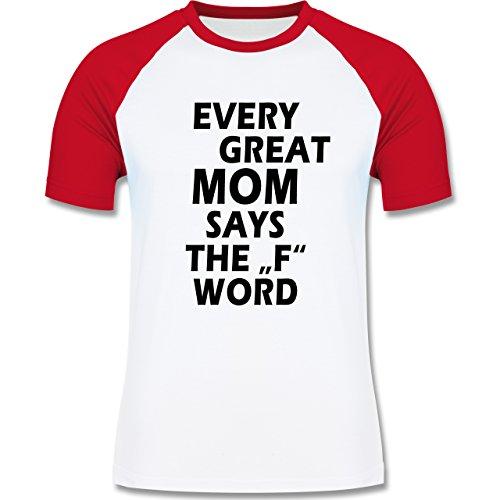 Statement Shirts - Fuck Word - zweifarbiges Baseballshirt für Männer Weiß/Rot
