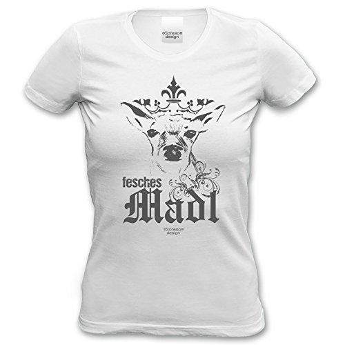 Fesches Madl - Damen-Mädchen-Girlie-T-Shirt lustiges Fun-Motiv Volksfest Oktoberfest Trachtenshirt Geweih Farbe: weiss Gr: XXL