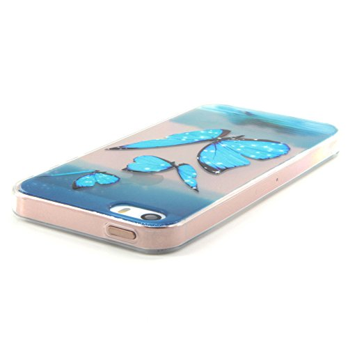 iPhone 5 5S 5SE Hülle,BONROY® Muster TPU Case SchutzHülle Silikon Case Tasche Weiches Transparentes Silikon Schutzhülle Malerei Muster Ultradünnen Kratzfeste Tasche Schutzhülle Hülle Case Cover Etui T Blue Butterfly
