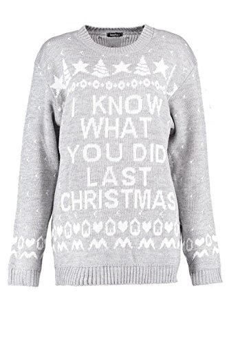 Gris Femmes Georgia 'I Know What You Did' Christmas Jumper Gris