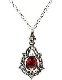 Esse Marcasite Halskette mit Anhänger Sterlingsilber, Granat und Markasit, viktorianischer Stil,Halskette