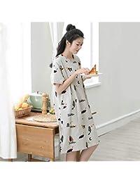 Pajamas Traje de Pijama, algodón con Bolsillos Albornoz, se Puede Usar Fuera del Pijama, algodón de la señorita Verano Redondo Manga Corta Chubasquero Albornoz Vestido de Noche Precioso (Manga Larga)