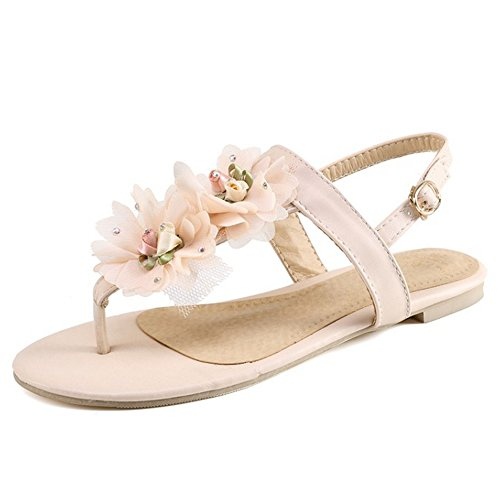 TAOFFEN Femmes Mode Floral Sandales Plates Clip Toe Slingback Ete Chaussures Rose