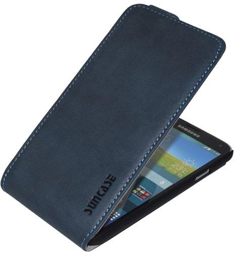 Samsung Galaxy S5 (SM-G900F) - S5 Neo (SM-G903F) / Flip-Style Ledertasche Tasche *ECHT LEDER* Handytasche Case Etui Hülle (Original Suncase®) in pebble-blue (UVP 29.90€)