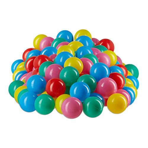 Relaxdays palline per piscina materiale non nocivo, 6 cm, set da 200 pezzi, palline morbide da 6 mesi in su colorate