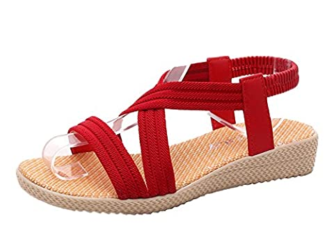 Minetom Damen Sommer Mode Einfarbig Sandalen Gladiator Sandals Flats Schuhe Strand Offene Sandalen Rot EU (Erwachsen Netzstrumpfhose)