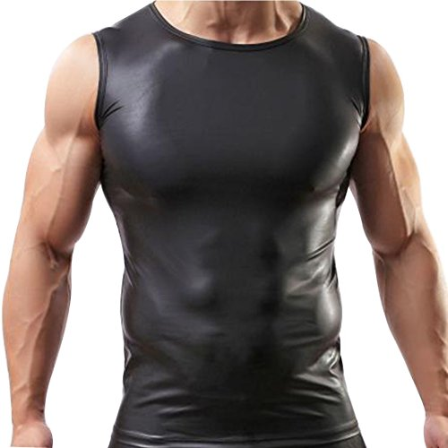YiZYiF Männer Muskel Shirt Wetlook Herren Unterhemd T-Shirt Tops Tights Reizwäsche Fitness Slim (XL, Schwarz)