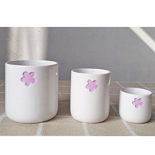 Better-way en céramique en forme de fleur Motif floral Plante à fleurs Cactus à nourriture Orchidée Pot de fleurs Dekohaken24 Boîtes Bol Pot de fleurs, Céramique, violet clair, Pack Of 3
