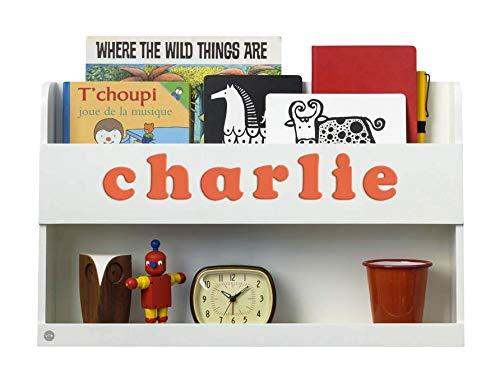 Tidy Books ® - Regal Hochbett Kinder | Weiß | Wandregal Kinderzimmer | Bücherregal Kinder aus Holz | Personalisiert mit Holzbuchstaben | 33 x 53 x 12 cm | Handgefertigt | Der original Bunk Bed BuddyTM -