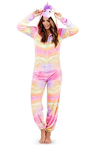 Loungeable, Damen Luxus 3D Einhorn Alles in Einem Jumpsuit Einteiler, Regenbogen, Child 7-8 Yrs