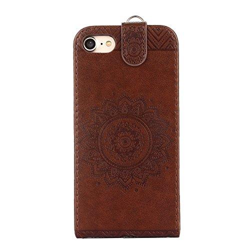 MOONCASE iPhone 4s Coque, Totem Embossed Housse en Cuir Etui à rabat Case avec Béquille pour iPhone 4 4s Vert Marron