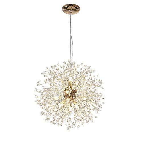YIKUI Pendant Light, Crystal Star and Metal Shade Modern Lamp,40 * 40 * 40 cm, 8 * G9 Gold [Energy Efficiency A + +] (Light Star Pendant)