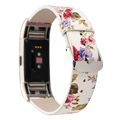 squarex Muster Lederband Ersatz Armbanduhr Band für für Fitbit Laden 2, damen, B, AS Show