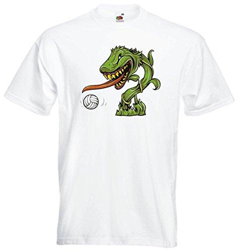 Pinkelephant - T-Shirt Herren weiß - schönes Sportmotive Pflanzen Zombie- Mannschaft - S Pflanzen S Zombies