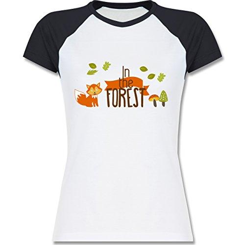 Wildnis - In the Forest Wald Fuchs - zweifarbiges Baseballshirt / Raglan T-Shirt für Damen Weiß/Navy Blau