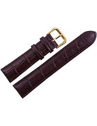 uyoung 18mm grano de piel de cocodrilo de piel auténtica hombre marrón rosa dorado cierre reloj banda
