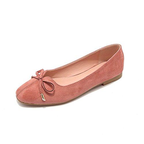 Damen Slipper Einfach Schick Flach Gummisohle Flexibel Leicht Rutschfest Nubukleder Bequem Atmungsaktive Schleife Mokassin Pink