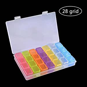 Pawaca 28griglie box colorato diamante ricamo, Diamond Painting di scatola per DIY Art Craft, valigetta per bigiotteria pillole dolcetti, Diamond Stones divisori scatola organizzatore 10,9x 17cm