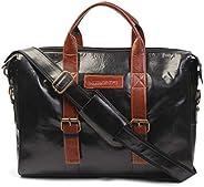 MUTAQINOTI Sleek & Compact Black Vegan Leather Handmade Men Women Unisex Laptop Bag Dual Tone Sling Messen
