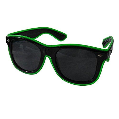 grau.zone LED-Brille Leuchtbrille Partybrille Spassbrille Blinky mit dunkle Gläser Grün