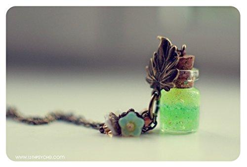 Citrus Glasflasche Anhänger, mit Glitzer-Gel. Glasphiole Halskette. Glas Flasche Halskette, niedliche Halskette, Miniatur-Flasche, Trank Flasche
