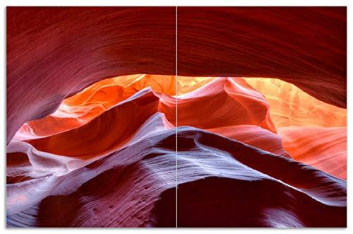Wallario Herdabdeckplatte/Spritzschutz aus Glas, 2-teilig, 80x52cm, für Ceran- und Induktionsherde, Motiv Antelop Canyon USA Kalksandsteingebirge in leuchtenden Farben