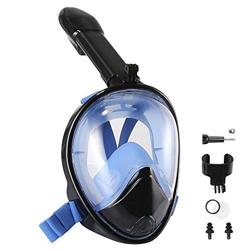 Tauchmaske TOTOBAY Schnorchelmaske 180° Panorama Vollmaske Tauchermaske Vollgesichtsmaske mit Anti Fog / Anti Leak Technologie und gebogener Oberfläche für Schwimmen und Tauchen (Schwarz L / XL)