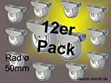 12er Pack Kastenbockrolle ø 50mm weich grau *neu* - Bockrollen Bettkastenrollen
