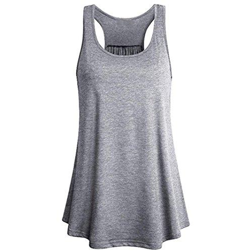 ESAILQ Damen Chiffon Bluse V-Ausschnitt Henley Shirt Casual Langarm Oberteile XS-XXXL (XL,Grau)