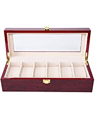 Asvert Uhrenbox für 6 Uhren mit Glasanzeige Oberseite, elegantes Aussehen,Schmuck-Boxen, Aufbewahrungsboxen , Display-Boxen, braune Farbe