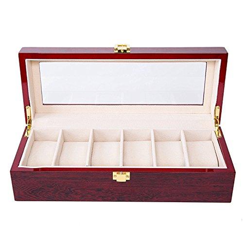 Asvert Uhrenbox für 6 Uhren mit Glasanzeige Oberseite, elegantes Aussehen,Schmuck-Boxen Aufbewahrungsboxen Display-Boxen, braune Farbe (Oberseite Box)