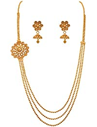JFL - Traditional Ethnic One Gram Gold Plated Beads Spiral Designer Necklace Set For Women & Girls.