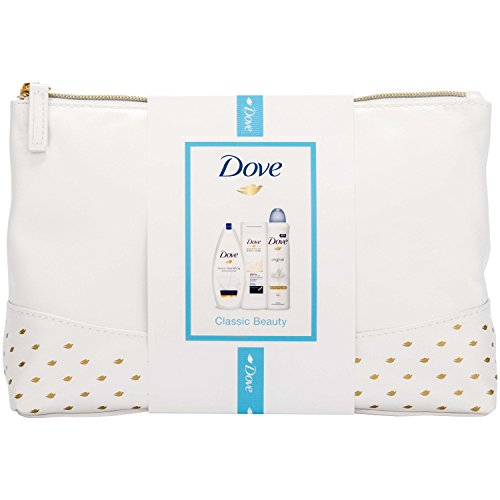 Dove Classic Beauty Kulturbeutel Damen Geschenkset mit Bodylotion, Bodywash und Anti-Transpirant - Geschenkset für Sie