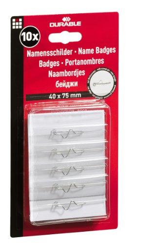 Durable 860819 Namensschild (Wellennadel, verdeckte Spitze, transp. Kunststoff, 75 x 40 mm) 10 St -