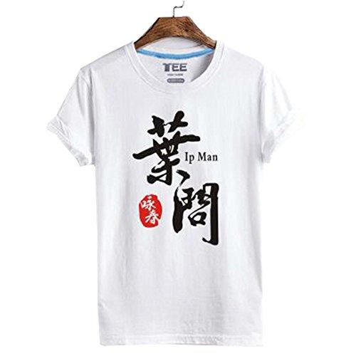 ZooBoo Kampfkunst Wing Chun T-Shirt - Traditionelle Chinesische Wing Tsun Kung Fu Ehrwürdiger Meister Ye Wen Ip Man Bedruckte Kurzärmelige Bekleidung Oberhemd T-Shirt für Männer Frauen aus Baumwolle
