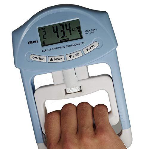 caracteristicas: Max. Capacidad: 198 lb / 90 kg. Mango ajustable para agarre ideal. Fuente de alimentación: 2 x pilas AAA Paquete incluido: 1x Dinamómetro de mano Cómo utilizar: 1. Retire la etiqueta de aislamiento de la caja de la batería; 2. Presio...