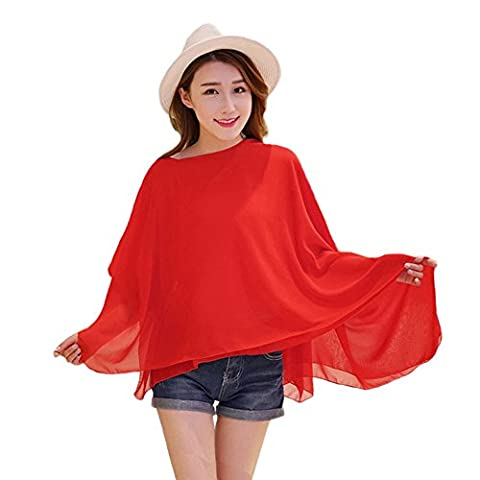 Years Calm Multi-function Magic Chiffon Scarf Pure Color Blouse Summer Sunscreen Shawl Top for Meetings, Reception, Vacation, Travel, Ride (Red)