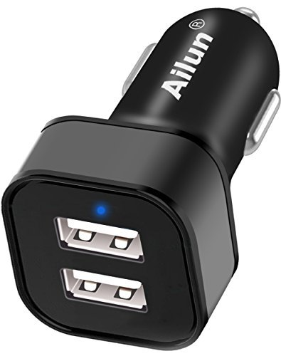 Ailun PowerDrive Mini Auto Ladegerät 24W/4.8A 2-Port USB Dual USB Charger KFZ Ladegerät mit PowerIQ Technologie für iPhone X 8 7 7 6 6s / Plus, SE, 5s, Nexus 7 6 5, Nokia, HTC und mehr [Schwarz] Low-voltage Surge Protection