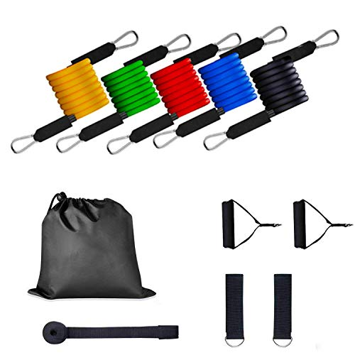 Fitnessbänder/Widerstandsbänder, 11tlg Widerstand Übungsband Yoga Pilates Fitness Tube Workout Bands Elastisches Seil Rallye Puller Seil Set, Gymnastikband Trainingsband Fitness Band Übungsband - Loop Puller
